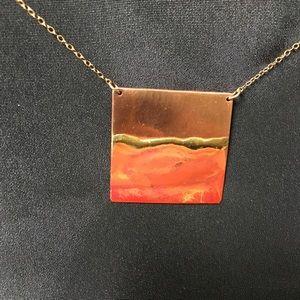 Copper & Brass Enamel Square Pendant Necklace